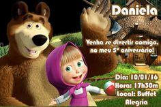 Convite digital personalizado Masha e o Urso - Kidsart