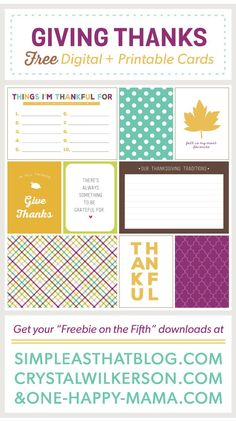 Giving Thanks Journaling and Filler Cards for Thanksgiving – simple as that | [ One Velvet Morning ]