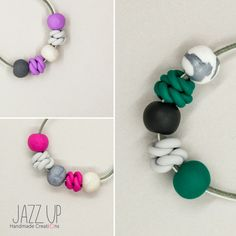 Polymer clay beaded bracelets, in three different colour combinations.