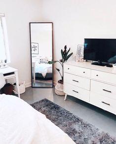 clean-aesthetic-bedroom-blairewilson-fresh-bedroom-white-minimal-plant-room-makeover-full-length-mirror-area-rug-tv-aesthetic-home-inspo/ SULTANGAZI SEARCH Simple Bedroom Decor, Room Ideas Bedroom, Home Decor Bedroom, Modern Bedroom, Bedroom With Tv, Bedroom Ideas For Small Rooms, Big Mirror In Bedroom, Nordic Bedroom, Clean Bedroom