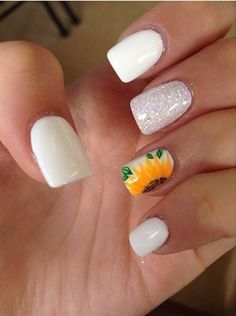 Sunflower nails wedding sunflowers, sunflower weddings, white tip nails, gray nails, acrylic Rose Nails, My Nails, Hair And Nails, Best Acrylic Nails, Acrylic Nail Designs, White Tip Nails, Sunflower Nails, Dream Nails, Nagel Gel
