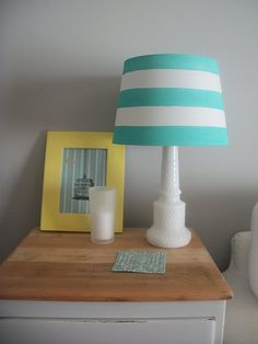 Give your lamp a makeover by painting on stripes. This teal hue is perfect for spring!