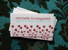 Red Poppies Calling Cards via Etsy
