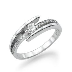 Vintage 14K White Gold and Diamond Engagement Ring by BrilliantCut, $1270.00