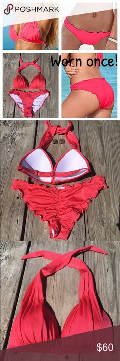 VENUS bikini. Worn 1x! Like new condition. Same day shipping (excluding Sun/holidays or orders placed after P.O. Closed) ❓Please ask any questions prior to buying. I want you to be %   I wore this suit once at an in door pool. I hand washed it & laid it flat to dry. Back strap has a slide adjustment. Strings at the neck tie. I purchased the metal accents for the straps but they can also be removed. The only thing I do not like is when wet it looks red. I reordered it in black! ❤️ it…