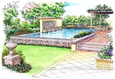 Small Pools For Small Backyards | small backyard designs | Architectural Rendering