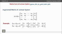 جبر المصفوفات - تمثيل النظام الخطي على شكل مصفوفي http://ift.tt/2soDAzD دورة مصفوفات رياضيات شرح المصفوفات كورس جبر المصفوفات منهج جبر المصفوفات