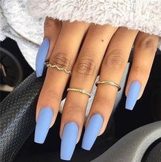 Blue coffin nails designs are so perfect for 2019 spring and summer!,Blue coffin nails designs are so perfect for 2019 spring and summer! Hope they can inspire you and read the article to get the gallery. Blue Coffin Nails, Blue Acrylic Nails, Summer Acrylic Nails, Gold Nails, Acrylic Nail Designs, Pastel Blue Nails, Summer Nails, Blue Matte Nails, Spring Nail Trends