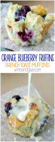 Orange Blueberry Fruffins {French Toast Muffins} | The delicious flavors of orange & blueberry conveniently packaged in a muffin form, but made from french toast!