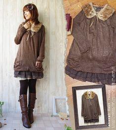 Rakuten: [October 27 resale] knit one piece [email service impossibility]… Moda Harajuku, Harajuku Mode, Harajuku Fashion, Harajuku Girls, Japanese Street Fashion, Asian Fashion, 70s Fashion, Fashion Styles, Winter Fashion