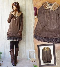 Rakuten: [October 27 0:00 resale] knit one piece [email service impossibility] that winter girly-style * lei yard design is pretty with a knit one piece forest girl tippet forest girl dot pattern [brown] big fur tippet and dot pattern frill- Shopping Japanese products from Japan