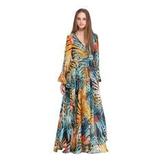 SheIn(sheinside) Rainforest Print Self-tied Crepe Maxi Dress ($25) ❤ liked on Polyvore