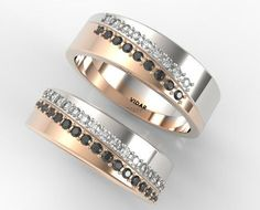 His and Hers Matching Black And White Diamond by Vidarjewelry
