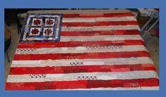 Flag Quilt Top from scraps and scrap blocks