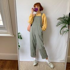 The ideal dungarees - Depop Lesbian Outfits, Indie Outfits, Retro Outfits, Trendy Outfits, Vintage Outfits, Cool Outfits, Vintage Fashion, Fashion Outfits, Artsy Outfits
