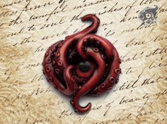 Infernus - deep red Kraken brooch - painted polymer clay tentacles and blood red glass eye cabochon- Steampunk nautical fantasy Cthulhu on Etsy, $43.09