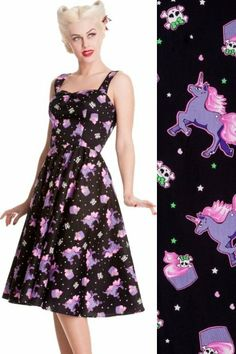 Mystical Unicorns & Cupcakes 50's Rockabilly Dress by Hell Bunny