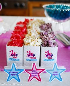 Barbie Princess + The Popstar party by Paisley Petal Events: girls watched the movie while snacking on candy and this strawberry/white chocolate/grape flavored popcorn