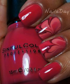 Pink Watermarble Nails using Sinful Colors Folly, Sinful Colors Soul Mate, & Sally Hansen Brilliant (by NailaDay)