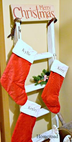 This is perfect! We have no mantel or alternate place to hang stockings.