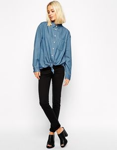 c912f190eabab ASOS Maternity TALL Ridley Skinny Jean In Midwash With Over The Bump  Waistband at asos.com