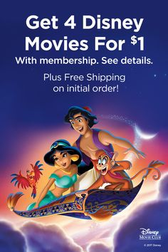 Make your wish come true with Disney Movie Club. Climb aboard for a magical carpet ride filled with laughs, adventure and one-of-a-kind Disney family fun. Get 4 movies for $1 with membership. See details. Plus free shipping on initial order.