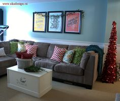 family room couch wall Farmhouse Modern Christmas Home Tour | Our House