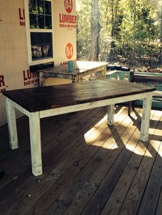 This table is made of solid pine wood the top is stained and bottom is cream with distressing. Dimensions are 72 x 34 x high. Rustic Table, Cute Kitchen, Diy Table, Farmhouse End Tables, Table, Kitchen Table, Farmhouse Table, Building Furniture, Dining Room Table