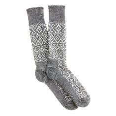 Fair Isle camp socks - bags & accessories - Men's New Arrivals - J.Crew *Gray patterned socks