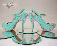 Blue Mary Jane wedding shoes .JPG #wedding #shoes #weddingshoes #bride #bridal #brideshoes #blue #pink #flowers #heels #highheels #mintblue #maryjane