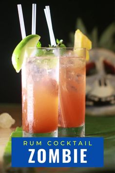 This Zombie cocktail from Bacardi rum is a great Halloween tradition. A fruit tiki drink with just the right amount of rum. It is easy to make and is perfect as a punch for parties. #zombiecocktail #halloweenparty #halloweendrink #tiki #recipe #rum #drink #cocktails Zombie Drink, Zombie Cocktail, Cocktail Drinks, Classic Whisky Cocktails, Around The World Food, Halloween Drinks, International Recipes, Easy Meals