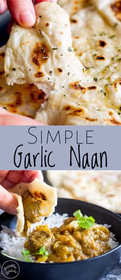 These Simple Garlic Naan breads are perfect for serving with your curries. - These Simple Garlic Naan breads are perfect for serving with your curries. Nann Bread Recipe, Recipes With Naan Bread, Indian Naan Bread Recipe, Butter Naan Recipe, Homemade Naan Bread, Garlic Naan Bread Recipe Easy, Easy Naan Bread Recipe No Yeast, Simple Bread Recipe, Naan Bread Vegan