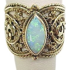 Vintage 14k Gold Wide Opal Ring in Detailed Setting