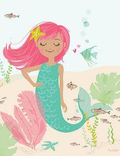mermaid wall art brown hair mermaid Nursery by SeaUrchinStudio Mermaid Poster, Mermaid Wall Art, Mermaid Bedroom, Mermaid Nursery, Bathroom Artwork, Kids Artwork, Mellow Yellow, Nursery Art, Nursery Decor