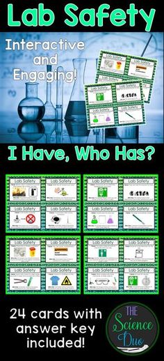 "Science Lab Safety ""I Have, Who Has"" Activity. This activity includes 24 unique ""I Have, Who Has"" statements. Use this with your entire class as review to get all of your students to participate."