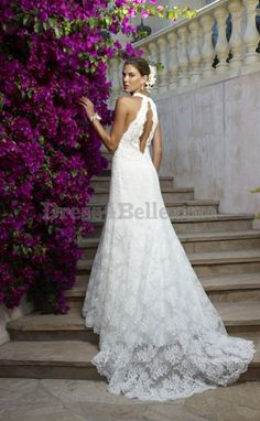 A-line / Princess V-neck Cathedral Lace , Satin lace Sleeveless Backless Wedding Dresses -- DHB2611