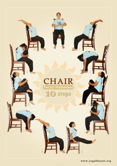 Sun Salutation (Surya Namaskar) on Chair &; for Arthritis and other conditions. Sun Salutation (Surya Namaskar) on Chair &; for Arthritis and other conditions. Charlotte Maler Yoga-AL Sun Salutation (Surya […] Yoga sequence Yoga Fitness, Senior Fitness, Fitness Workouts, Easy Fitness, Physical Fitness, Fitness Diet, Yoga Flow, Yoga Restaurativa, Hot Yoga