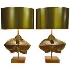 Signed and Numbered Matching Pair of French Maison Charles Orchid Table Lamps