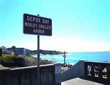 Depoe Bay, Oregon.. world's smallest harbor.  I sent hubs across the street to get a pic of the sign and he brought me a pic of a seagull... I borrowed this pic needless to say ;)