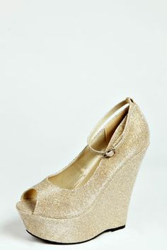 Anna Shimmer Ankle Strap Wedges at boohoo.com