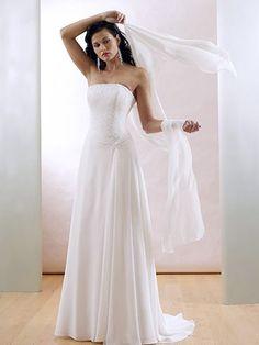2011 Elegant A line Strapless Sweep satin wedding dress