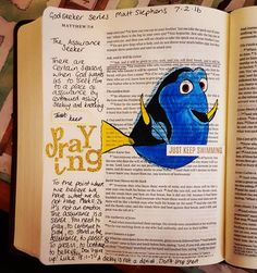 I've a bit of catching up to do. That's what these night shifts get you! Matt Stephens - The Assurance Seeker. You can even do Disney in your bible journaling! My internal monologue is often a continual stream of movie quotes and this Finding Nemo quote popped in to my head whilst listening to this message. Stand in the assurance of God and just keep praying. Keep asking, seeking and knocking. #illustratedfaith #biblejournaling #wearehomechurch