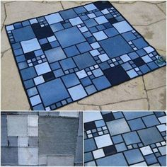 Tappetto di jeans con quadrati