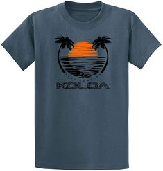 Sunset and Palm Tree T-Shirt Hooded with A Pocket Rope Hat Customization Fashion Novelty 3D Mens