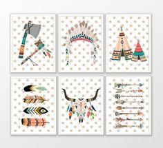 Affiche A4 pour chambre d'enfant thème Indien ou Tribal