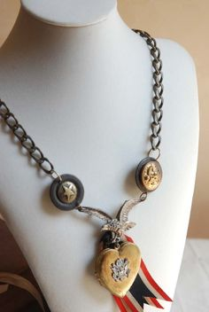THE PATRIOT Altered Art Necklace