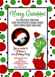 8 Best Images of Grinch Birthday Invitations Printable - Grinch Birthday Party Invitation, Grinch Christmas Party Invitations and Grinch Birthday Invitation Grinch Christmas Party, Grinch Who Stole Christmas, Grinch Party, Christmas Party Themes, Christmas Party Invitations, Xmas Party, Christmas Birthday, Kids Christmas, Christmas Crafts