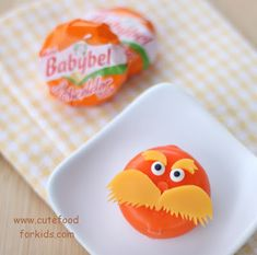 More Lorax! And I say never stop paying homage to the great Dr. Seuss. Find a round-up of Lorax foods and, better yet, make these perfect Lorax BabyBels from the BabyBel-decorating-master, HERE at Cute Food for Kids.