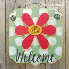 Flower Welcome Door Hanger 17x15 Sage Green by UniqueBoutiqueDecor