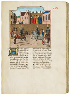 This is an extraordinary anthology of chivalric treatises made for the noble Claude de Neufchâtel, identified by his coat of arms. The fourteen finely illuminated texts deal, among others, with chivalric protocol, heraldry and the laws of war in Spain, France, Burgundy, and England. They were likey compiled under the...